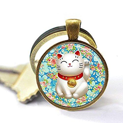 Llavero con diseño de gato de la suerte, color rosa y azul, con flor de flores, llavero Maneki Neko, llavero de buena suerte, regalo único para llavero, llavero de regalo diario.