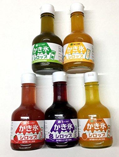 無添加 かき氷 シロップ 5種類セット いちご マンゴー みかん ぶどう 緑茶 フルーツバスケット