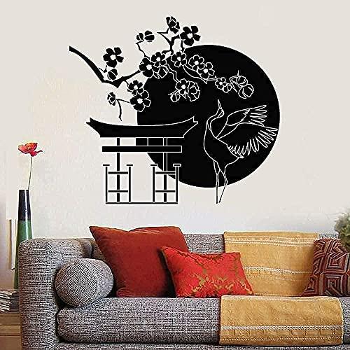 wwhhh pegatina pared calcomanía flor pájaro cigüeña puerta y ventana pegatina sala de estar decoración comedor 42X47Cm
