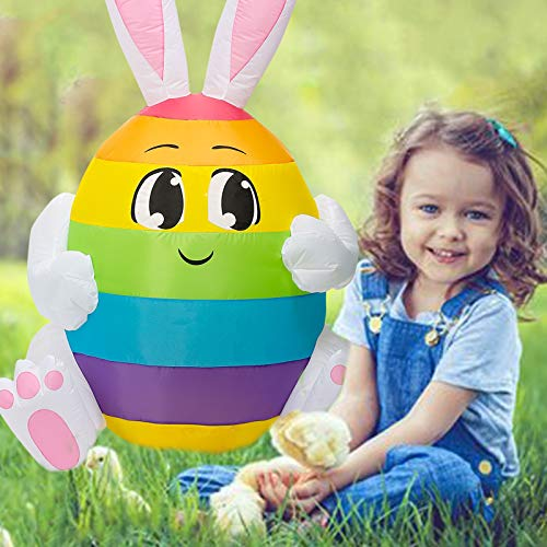 Party Inflatable Bunny Sitting, 5 Ft Party Easter Rainbow Egg Bunny LED Lights Decor Outdoor Indoor Holiday Decorations, Blow Up Lighted Outside Yard Home Lawn Inflatable Art Decor