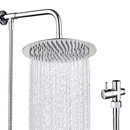 Drenky® Das Regen duschkopf-Set wird mit einem 10 '' runden Regenduschkopf mit 40 cm langem Duscharm, 140 cm Duschschlauch und 3-Wege-Umschaltventil im verchromten Edelstahl-Stil geliefert