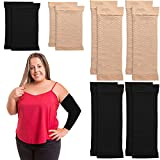 4 Pairs Arm Shapers for Women, Slim Elastic Arm Compression Sleeve Upper, Slimming Arm Wraps Calf Wraps Set, Arm Wraps for Flabby Arms, 2 Pair Calf Compression Sleeves, Black and Beige