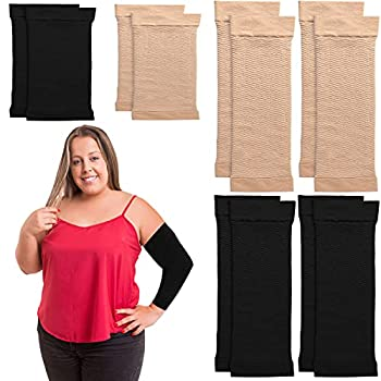 4 Pairs Arm Shapers for Women Slim Elastic Arm Compression Sleeve Upper Slimming Arm Wraps Calf Wraps Set Arm Wraps for Flabby Arms 2 Pair Calf Compression Sleeves Black and Beige