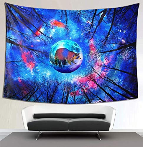 """Trippy Moon Bear Tapestry Psychedelic Forest Wall Tapestry Galaxy Tapestry Hippie Milky Way Wall Art Prints Painting Colorful Starry Sky Tapestry Wall Hanging for Bedroom Living Room Dorm 40""""x60"""""""