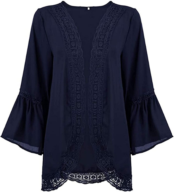 Womens Casual Solid Lace Long Sleeve Chiffon Cardigan Loose Kimono Blouse Tops