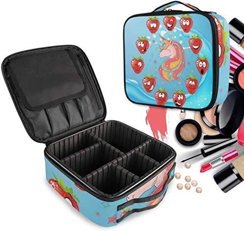 Cosmétique HZYDD Blue Strawberry Unicorn Make Up Bag Trousse de Toilette Zipper Sacs de Maquillage Organisateur Poche for Compartiment Femmes Filles Gratuit