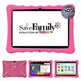 Tablet Evolution SaveFamily 10' para niños & Adolescentes. WiFi Y Datos SIM. Doble Control Parental, Control de Contenido, Anti-Bullying, Juegos. Funda Silicona. Marca española (Rosa)