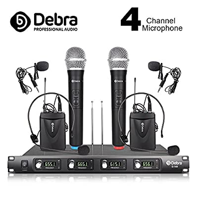 Debra Audio D-140 UHF 4 Channel Wireless Microphone System Metal Receiver With 2 Handheld & 2 Lavalier & 2 Headset Mic Use for Stage Church Family Party, Church, Small Karaoke Night(EU plug)
