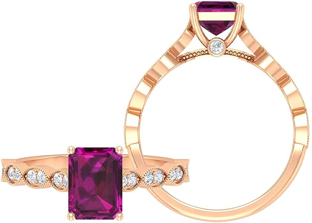 2 CT Rhodolite and Moisaanite Ring, Solitaire Ring with Side Stones, Gold Engagement Ring (6X8 MM Ocatgon Cut Rhodolite), 14K Rose Gold, Size:US 6.0