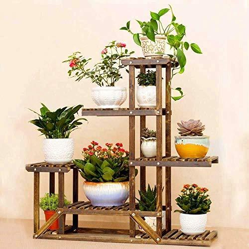Blumenregal mit 4 Etagen, Pflanzenregal, Blumenständer für Pflanzen, Ständer für Pflanzen, vertikale Blumentreppe aus Holz, 72 x 72 x 20 cm