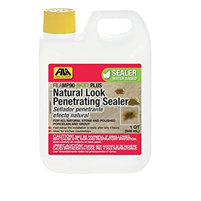 FILA Natural Stone Sealer MP90 Eco Plus 1 QT, Natural Look Sealer and Stain Protector, ideal for All Natural Stone, Polished Porcelain Tile and Grout, Eco-friendly Water Based