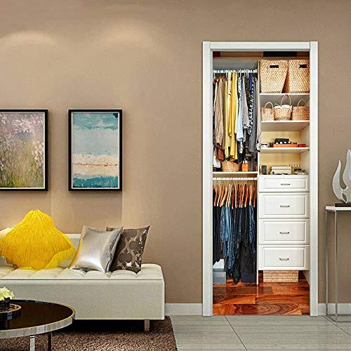 Pegatinas de puerta 3D, pegatinas de arte mural autoadhesivas, dormitorio, sala de estar, oficina, baño, decoración del hogar, patrón de armario