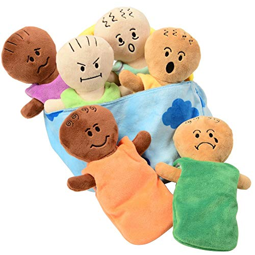 Constructive Playthings CP-039 Expression Babies Plush Dolls, Super Soft Baby Dolls Set, 6 Piece Set for All Ages