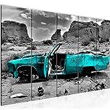Runa Art Wandbild XXL Auto Grand Canyon 200 x 80 cm Türkis