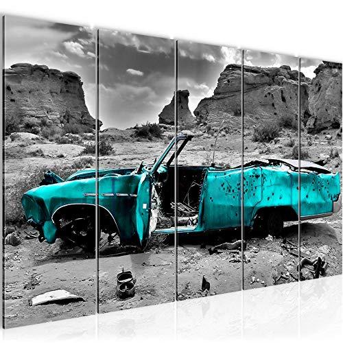 Runa Art Wandbild XXL Auto Grand Canyon 200 x 80 cm Türkis Grau 5 Teilig - Made in Germany - 602255b
