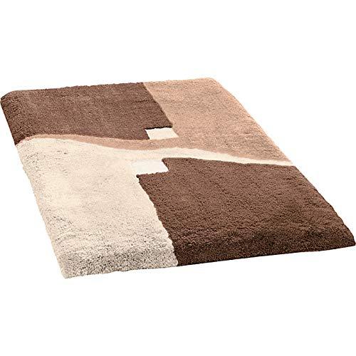 Erwin Müller Badematte, Badteppich, Badvorleger rutschhemmend braun Größe 80x140 cm - kuscheliger Hochflor, für Fußbodenheizung geeignet (weitere Größen)