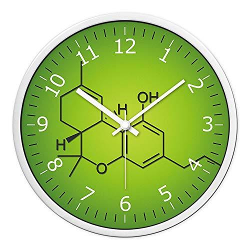 HomeClock Studentenwohnheim Schlafzimmer Uhr Schlafzimmer Wanduhr stumm Wand hängende Tabelle Chemische molekulare Uhr 14 Zoll weißen Stift weißen Rahmen