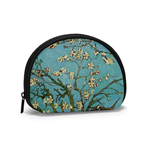 Van Gogh Blooming Apricot Flowers Small Coin Purse for Women Cute Coin Pouch for Girl Coin Bag Storage Bag Shell Wallet
