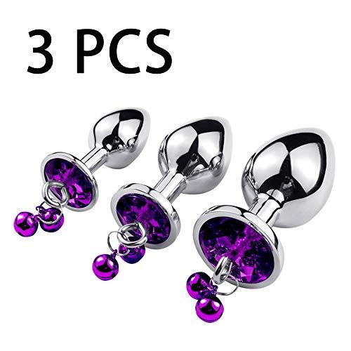 3pcs/Size Stainless Steel Bûtt Pl'uģ Luxury Gem Jeweled Design for Men Women Beginner Best Idea for Gift(Purple Diamond)