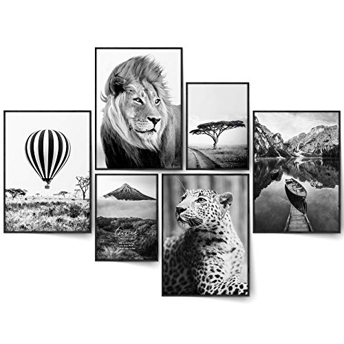 BLCKART Infinity Travel Wild Poster Set Stilvolle Beidseitige Reise Bilder Wildnis Natur Wohnzimmer Deko | 4X A3 | 2X A4 | ohne Rahmen (L | 4X A3 | 2X A4 | ohne Rahmen, TRAVEL WILD)