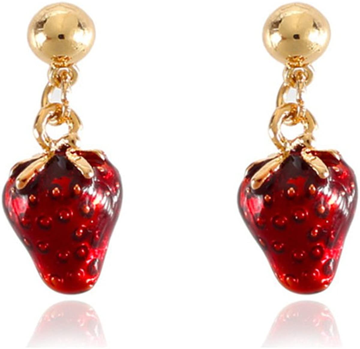 Grace Jun Luxury Bridal Gold Color Enamel Red Color Strawberry Clip on Earrings Non Piercing