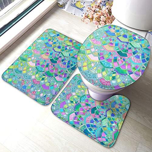 Juego de 3 alfombrillas de baño de colores pastel Art Deco, juego de alfombrillas de espuma viscoelástica, juego de fundas para asiento de inodoro