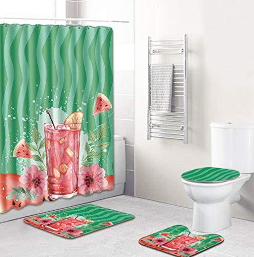 EZEZWSNBB 4-teiliges Duschvorhang-Set mit rutschfesten Teppichen, WC-Deckelbezug und Badematte, Rotes Wassermelonengetränk-Duschvorhang wasserdicht mit 12 Haken 180x180 cm Haus Dekoration