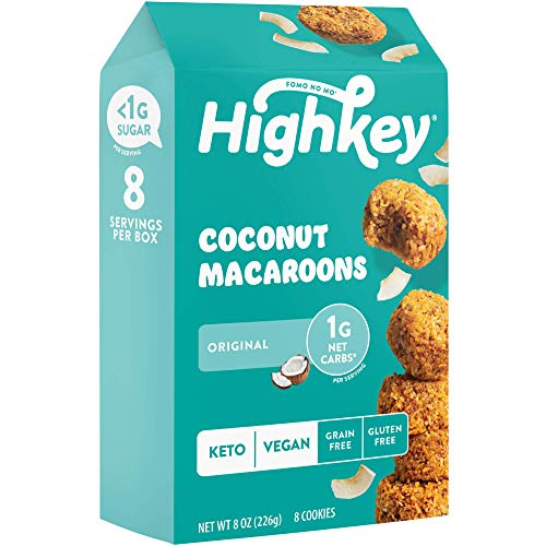HighKey Keto Snacks - Vegan Cookies - Low Carb Coconut Macaroons - Healthy Treat - Gluten Free Cookie - Individually Wrapped Macarons - Low Sugar Diabetic Snack - Paleo Food - Macaroon - Original