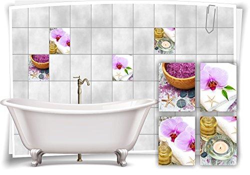 Medianlux Fliesenaufkleber Fliesenbild Orchidee Kerze Öl Salz Lila Wellness SPA Aufkleber Deko Bad WC, 20x25cm