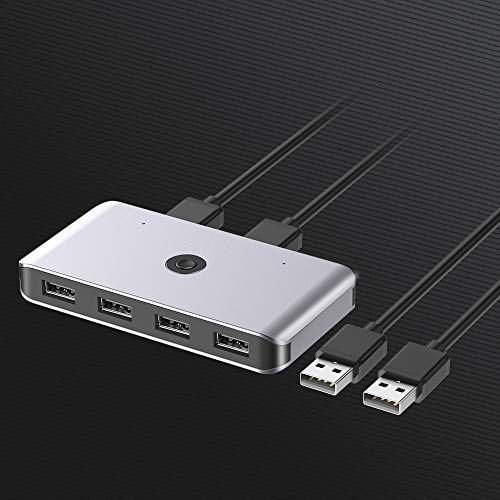KVM Switch USB 2.0, Conmutador USB 2 Entradas y 4 Salidas, Ladron USB KVM con 2 Cable USB para Compartir 4 Dispositivos de Teclado, Ratón, Memorias USB, Disco Duro, Impresoras, Escáneres, etc.