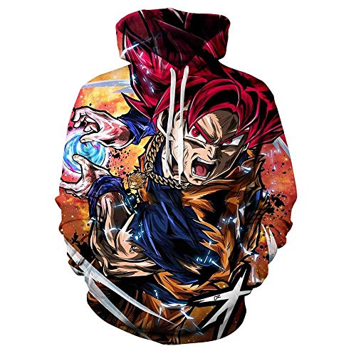zhuxsww Anime Pocket Hoodies Hoodies Boy Goku Sudadera 3D Sudadera con Capucha Hombres Mujeres Ropa Sudadera con Capucha Sweatshirt-Lw204_XL