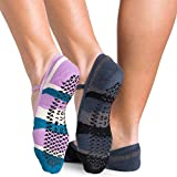 Pointe Studio Ballet Low Profile Strap Socks with Grippers, Size M/L, Color Black and Teal, 2 Pairs [Non-Slip, Yoga, Pure Barre, Pilates, Dance, Bearfoot Workout]