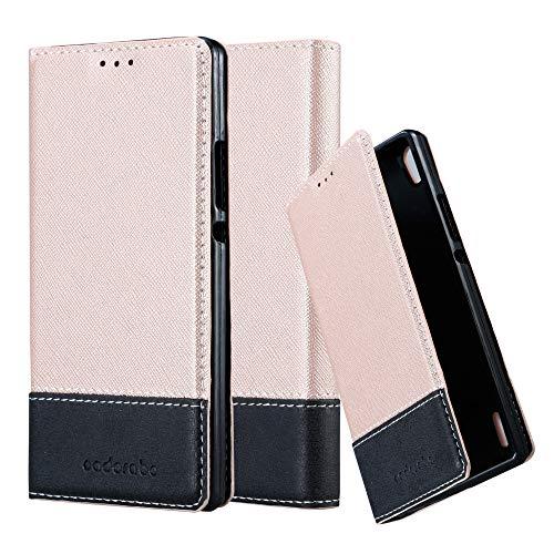 Cadorabo Hülle für Huawei P7 in ROSÉ Gold SCHWARZ – Handyhülle mit Magnetverschluss, Standfunktion & Kartenfach – Hülle Cover Schutzhülle Etui Tasche Book Klapp Style