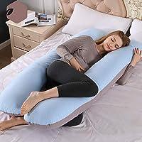 抱き枕 U型 妊婦 枕 マタニティ用品 授乳クッション もちもち ボディピロー 背もたれ 洗える 母のプレゼント(大人、子供、妊婦ともに適用) (青) (D)