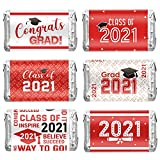 90 Pieces 2021 Graduation Decoration Label Sticker Congrats Mini Candy Bar Wrapper Class of 2021 Party Supply for High School, College, Nursing, Doctorate Graduation Celebration (Red and White)