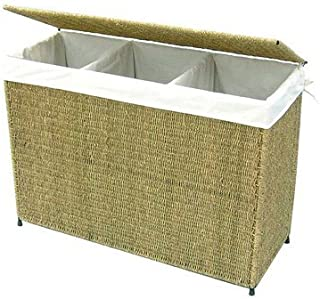 America Basket Company Woven Decorative Seagrass Lined 3-section Full-load Hamper