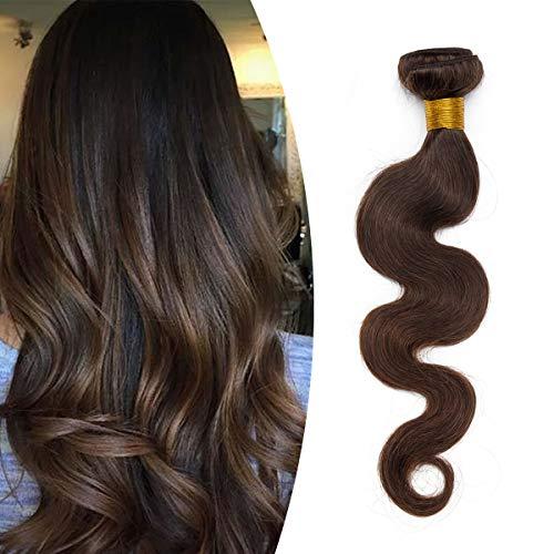 Tissage Naturel Cheveux Humain Ondulé #2 CHATAIN FONCE Meches Rajout Extension Cheveux Naturel Sans Clips - 10 Pouce / 25cm