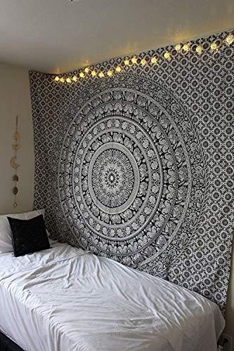 Raajsee Schwarz und Weiß Wandteppich, Indisch Elefant Mandala Psychedelic Wandbehang Boho Indischer Baumwolle Wandtucher Orientalisch, Ein Perfektes Geschenk 54x82 Inches
