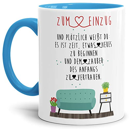 Tasse mit Spruch Einzug und plötzlich weißt du: - Innen & Henkel Hellblau/Zuhause/Eigenheim/Geschenk-Idee