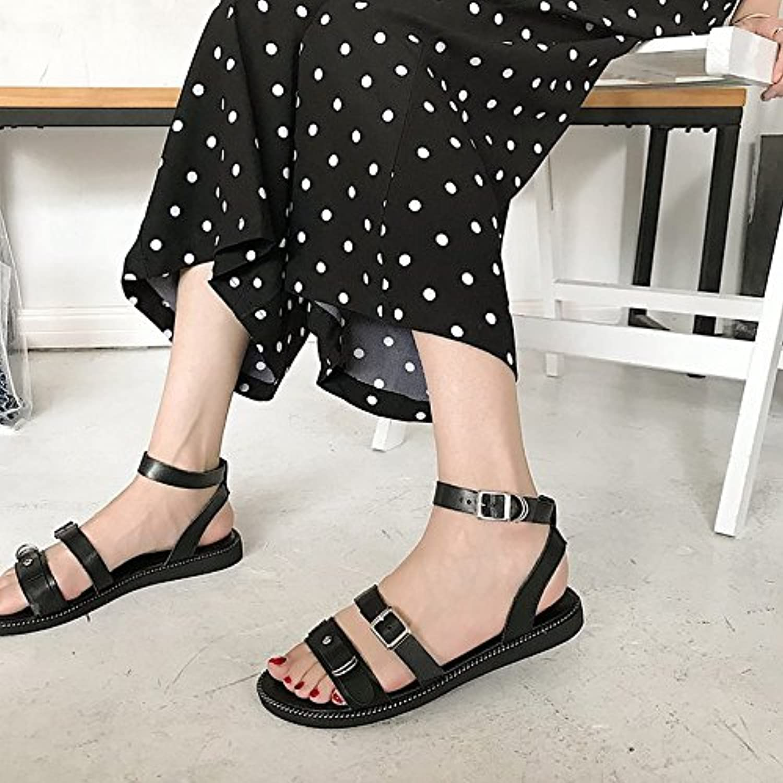 Women's shoes PU Summer Comfort Sandals Flat Heel for Black Light Brown