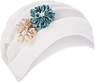 Dwevkeful Turbantes para Mujer Cancer Sombreros y gorras Turbante Gorra Pañuelo Decoración Floral SóLido AlgodóN Pañuelo Gorro Peruano para Chemo Oncológico Pèrdida de Pelo Cabello
