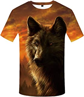 KYKU Unisex 3D Printing Graphics Wolf Shirt for Men Animal T Shirt Skull Shirts