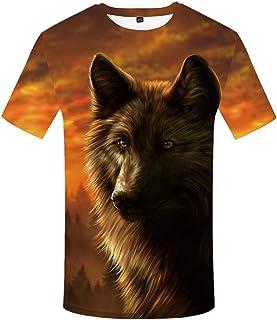 KYKU Unisex 3D Printing Graphics Wolf Shirt for Men Animal T Shirt Skull Shirts