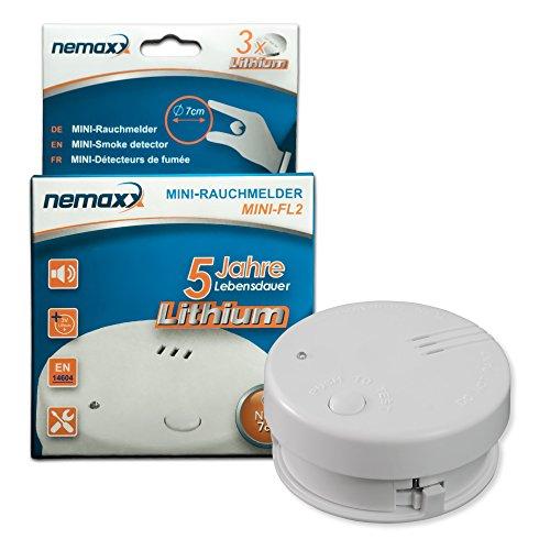 1x Nemaxx Mini-FL2 Rauchmelder - hochwertiger & diskreter Mini Brandmelder Feuermelder...