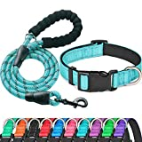Ladoogo Reflective Dog Collar Padded with Soft Neoprene Breathable Adjustable Nylon Dog Collars for Small Medium Large Dogs (Collar+Leash M Neck 16'-19', Blue)