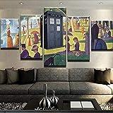 RTFGF Cuadros Modernos Decoracion Salon 5 Piezas Tardis el Domingo por la Tarde Impresión Pinturas Murales Decor para Salón Marco Tamaño:100x55 CM