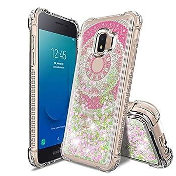 Tmacker Samsung Galaxy J2 2019 Case,Galaxy J2 Pure/J2 Core/J2 Shine/J2 Dash/J260 Phone Case w/HD Screen Protector,TPU Glitter Quicksand Shockproof Protective Phone Cover for Girls Women-Mandala