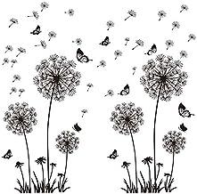 Muurtattoo Muurschilderingen 135 x 132 cm Muursticker Bloemen Paardebloem vlinders planten I Decoratie voor Woonkamer Slaa...