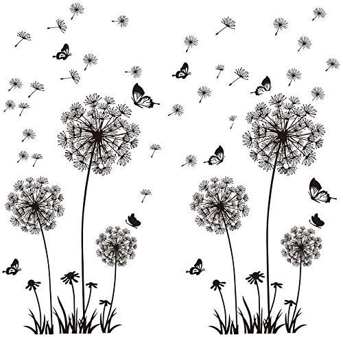 Wandtattoo Wandbilder 135X132cm Wandaufkleber Blumen Löwenzahn Schmetterlinge Pflanzen I Deko für Wohnzimmer Schlafzimmer Küche Bad Flur Fenster