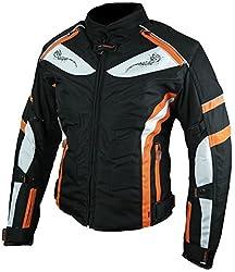 HEYBERRY Damen Motorrad Jacke Motorradjacke Textil Schwarz Orange Gr. L / 40